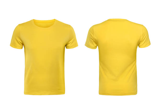 yellow t-shirts front and back used as design template. - t shirt stock photos and pictures