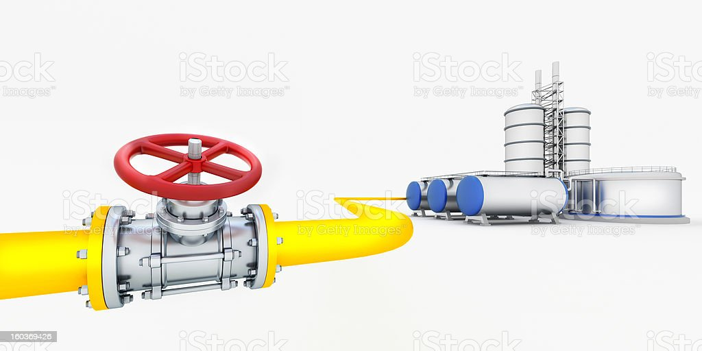 Yellow tube with red valves and oil factory royalty-free stock photo