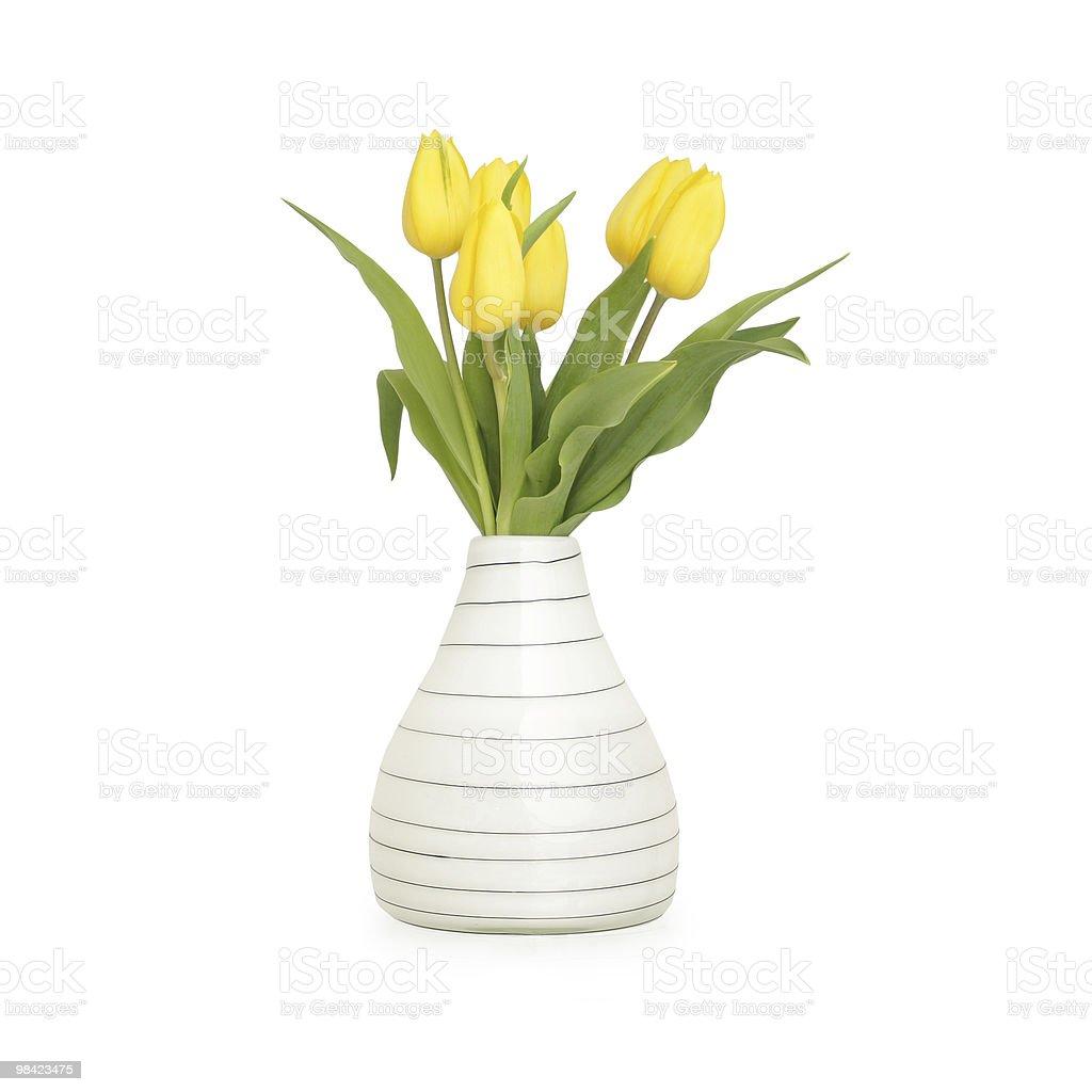 Yellow tulips in vase royalty-free stock photo