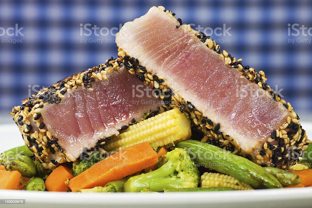 Yellow tuna meal fish royalty-free stock photo