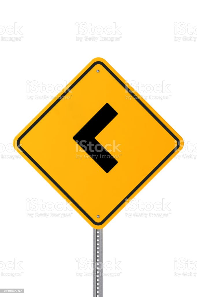 Yellow Turn Left Road Sign Isolated on White stock photo