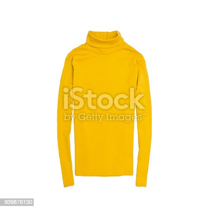 Yellow turtleneck. Fashionable concept. Isolated. White background