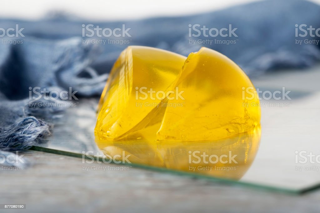 Yellow Two Pieces Jelly Dessert stock photo