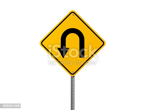 High quality 3d render of a yellow u turn sign isolated on white background. Clipping path is included. Great use for recession and economic crisis related concepts. Horizontal composition with copy space.