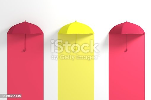 Yellow Umbrella Floating among red umbrella on White background. 3D Concept Creative Idea.