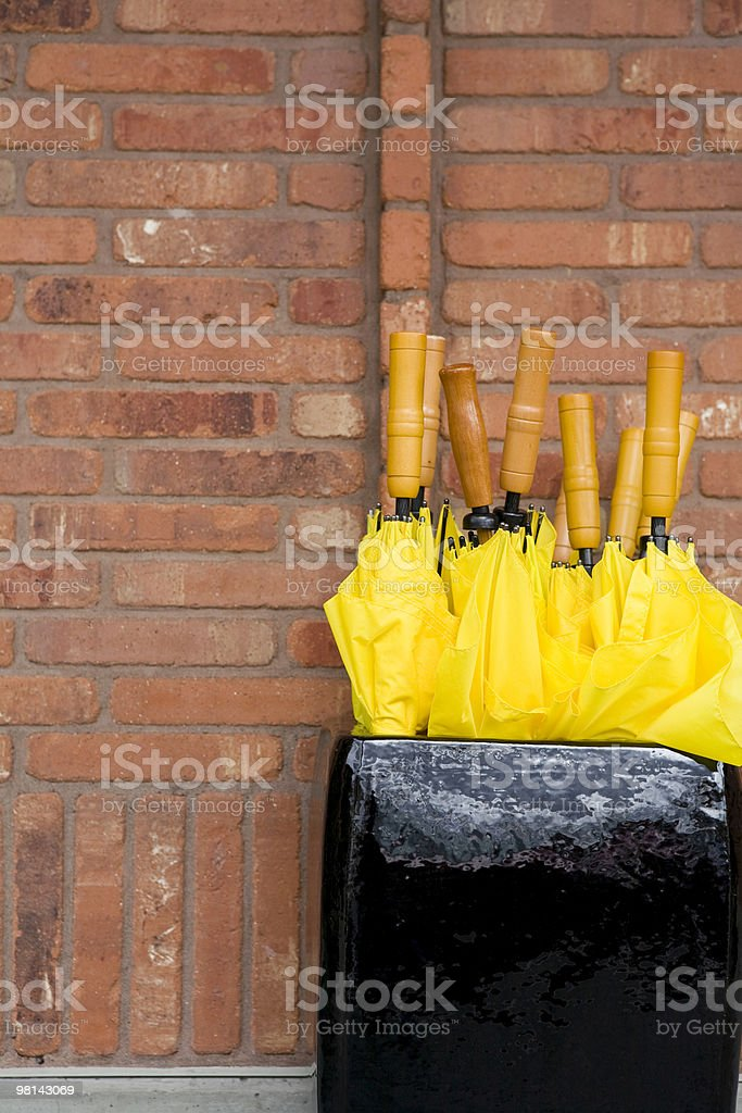 Yellow Umbrella Series - Brick Wall royalty-free stock photo