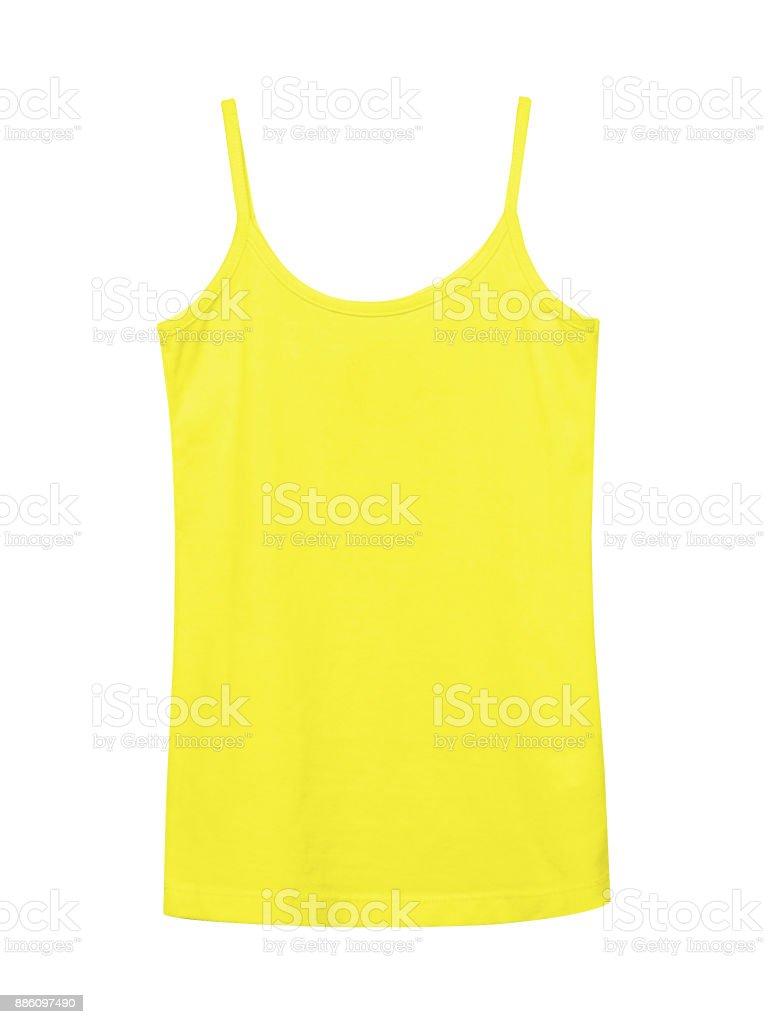 Yellow underwear sleeveless empty summer t shirt camisole isolated on white stock photo