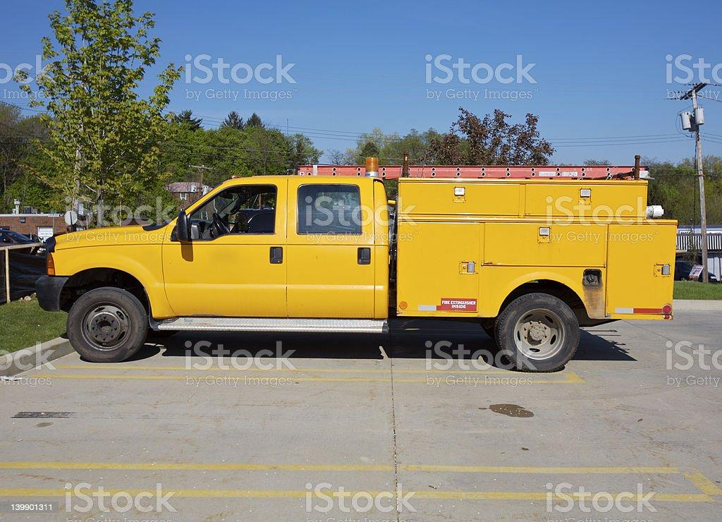 Yellow Utility Truck stock photo