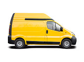 Yellow European van side view isolated on white background