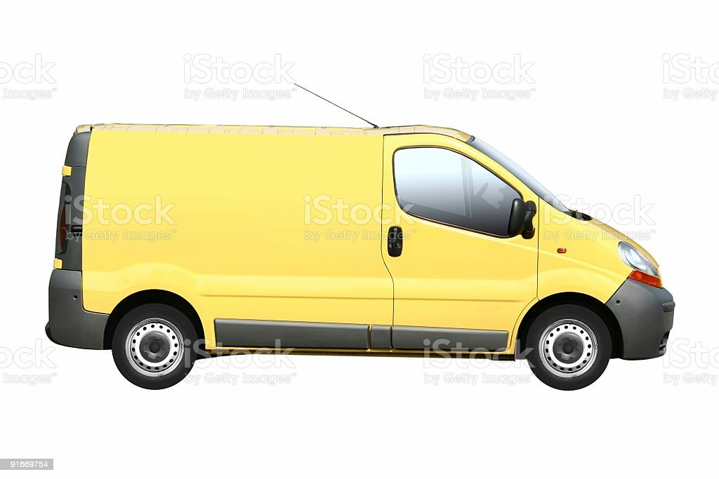Yellow Van Isolated royalty-free stock photo
