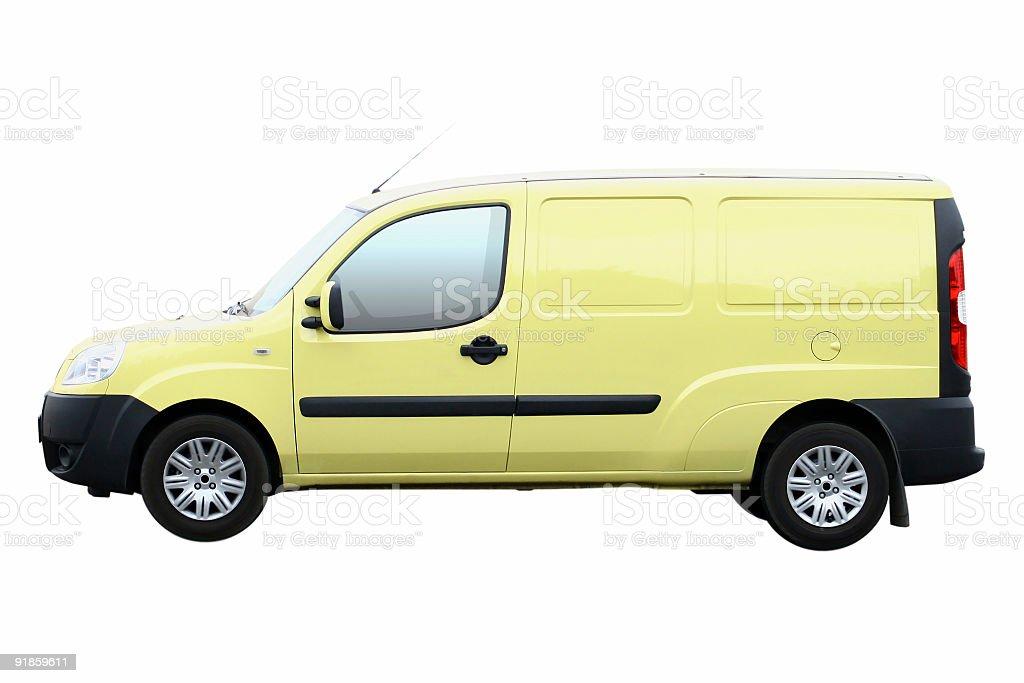 Yellow Van Isolated royalty-free stock photo