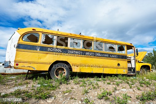 Old yellow vandalized american school bus with broken glass windows on a government dump site near Chilco Lake, British Vancouver, Canada