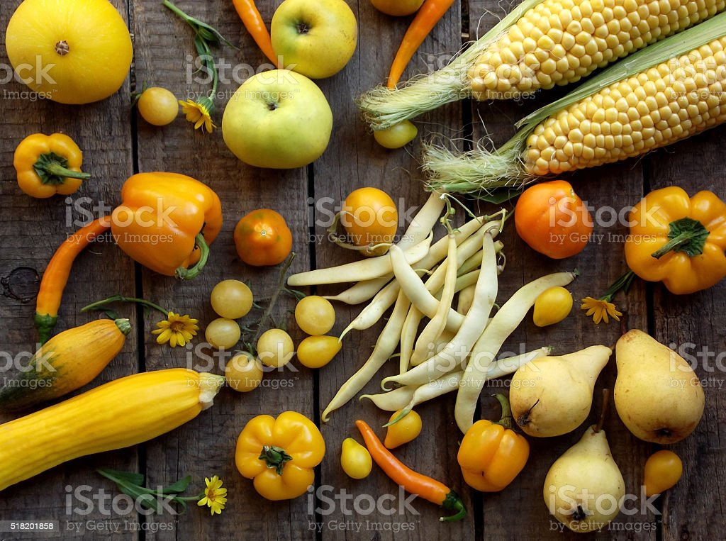 yellow vegetables stock photo