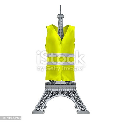 istock Yellow vests movement, French protests concept. 3D rendering 1079899256