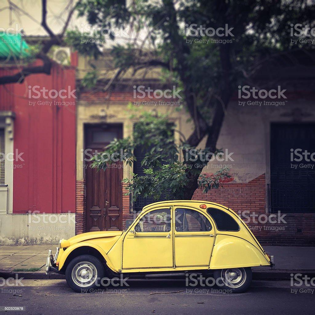 Yellow vintage car stock photo