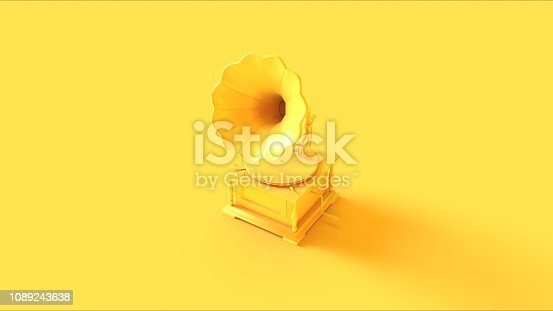 Yellow Vintage Gramophone 3d illustration 3d render
