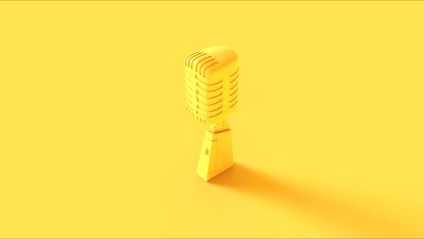 micrófono vintage amarillo - amarillo color fotografías e imágenes de stock