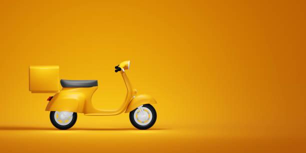 scooter vintage jaune, illustration 3d - moped photos et images de collection