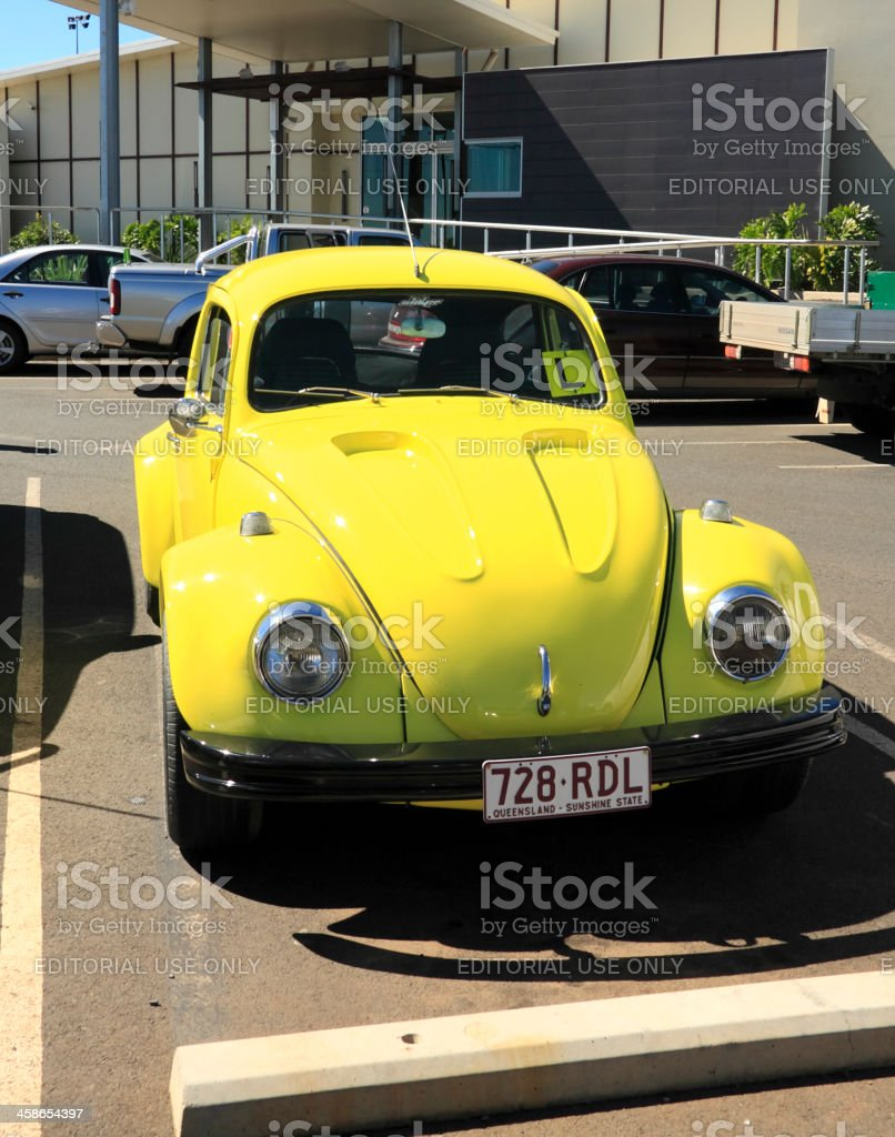 Yellow Volkswagon with L plates royalty-free stock photo
