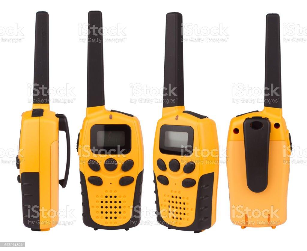 yellow walkie talkie isolated on white stock photo