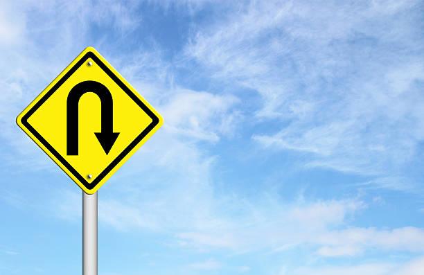 Gelbe Warnschild Kehrtwende roadsign – Foto