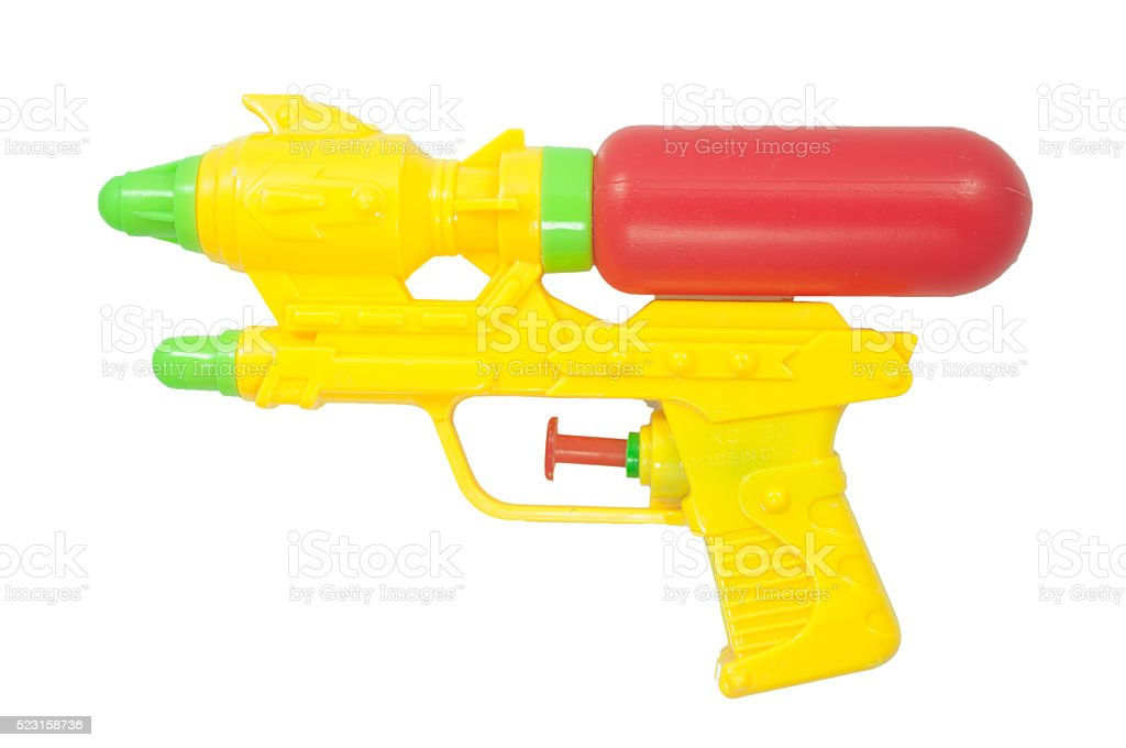 Yellow water gun on white background stock photo