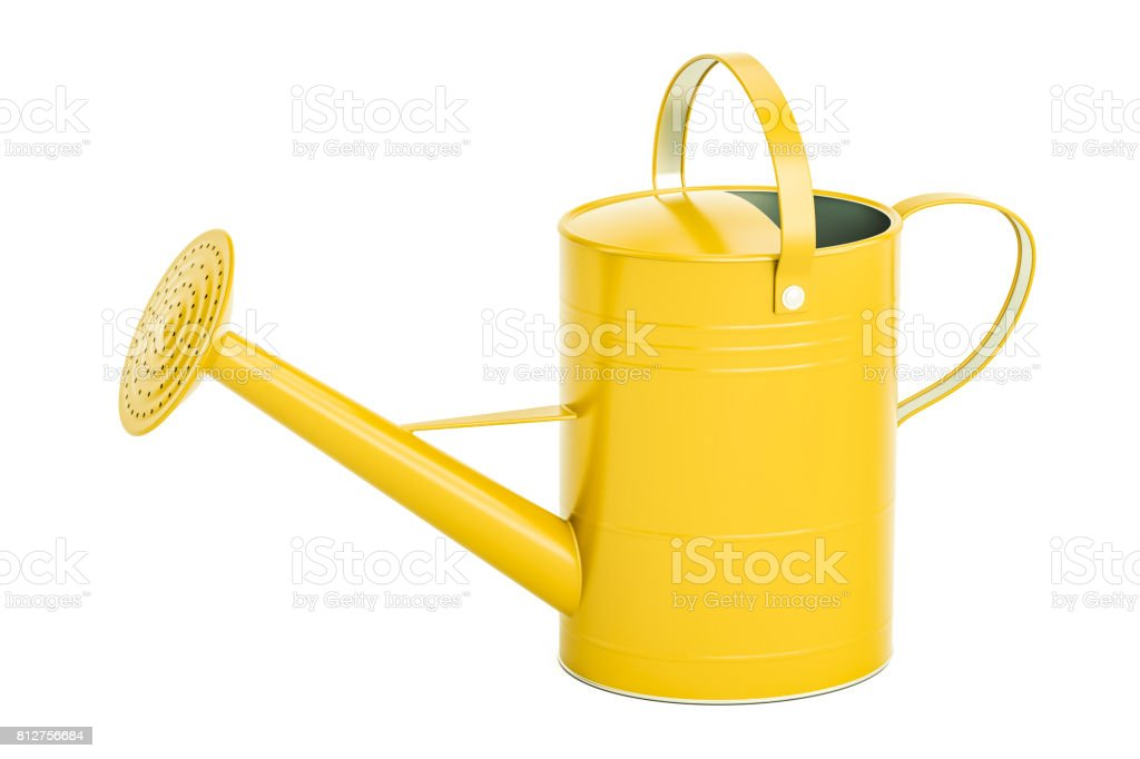 Yellow watering can, 3D rendering isolated on white background stock photo