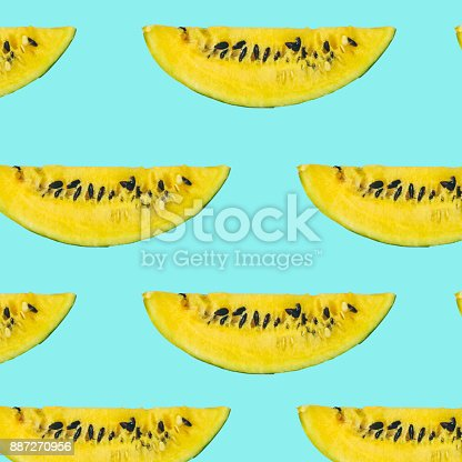 917861766istockphoto yellow watermelon slice with seeds 887270956