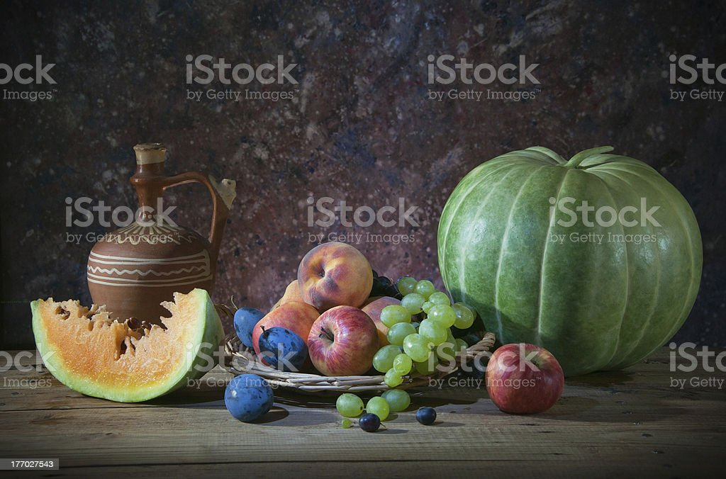 Yellow watermelons, and various fruits royalty-free stock photo