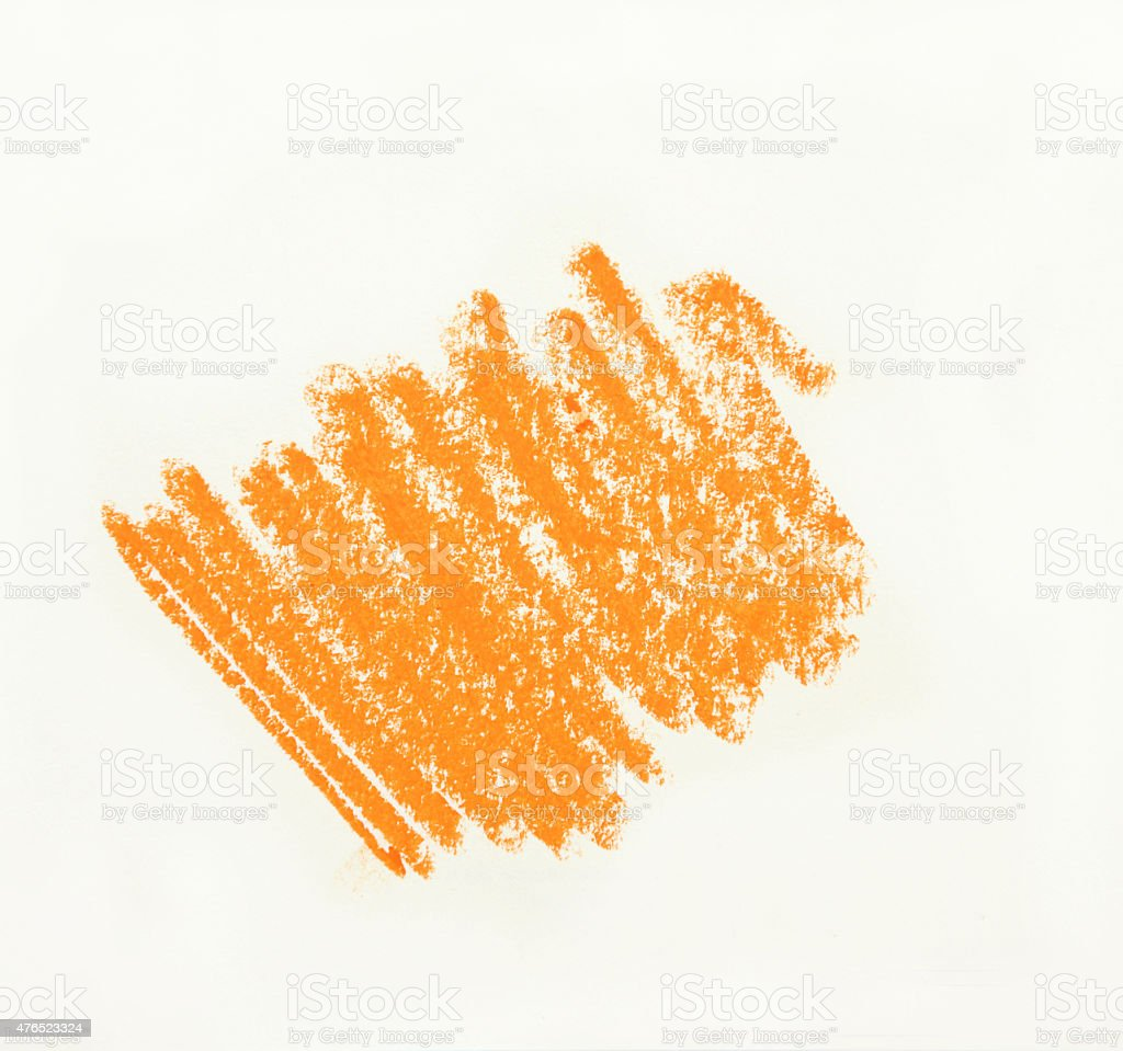 yellow wax pastel crayon spot isolated on white background stock photo