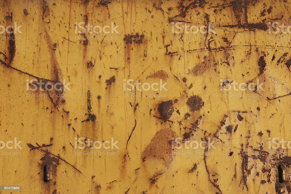 Yellow weathered grungy rusty steel royalty-free stock photo