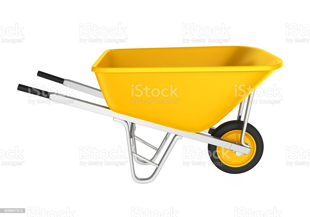 Yellow Wheelbarrow stock photo
