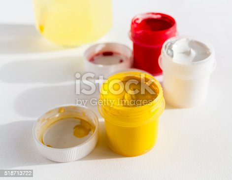 istock Yellow, white and red gouache colors 518713722