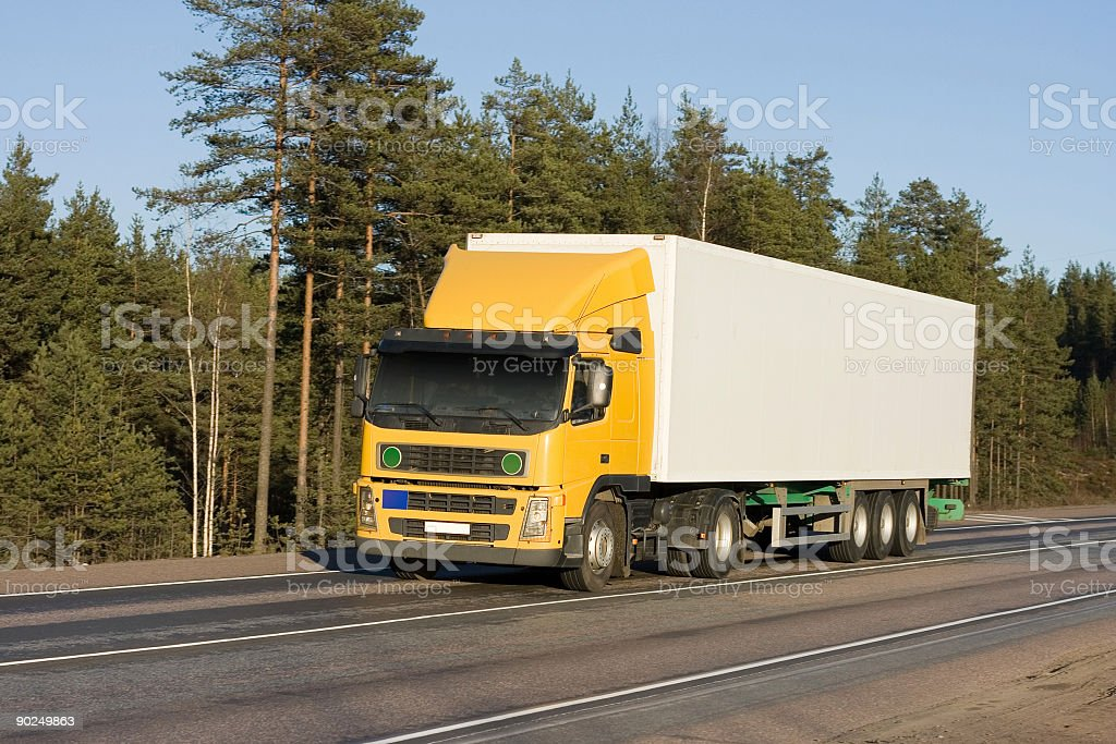 yellow white blank delivery van truck of 'Trucks' series royalty-free stock photo