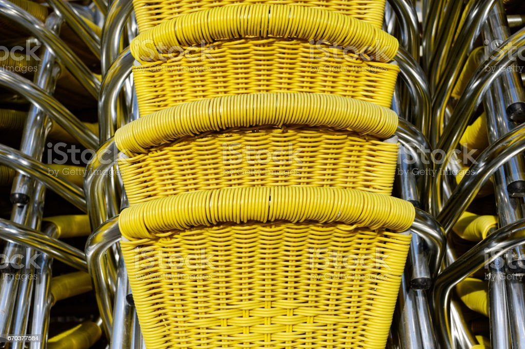 Yellow wicker chairs royalty-free stock photo