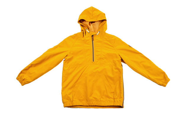 yellow windbreaker on a white background - giacca foto e immagini stock