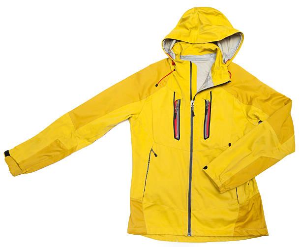 gelbe windjacke wasserdichte jacke mit durchgehendem reißverschluss und hoodie - zip hoodies stock-fotos und bilder
