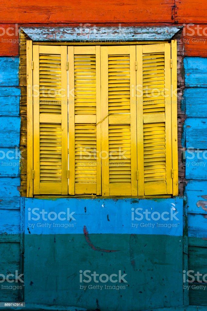 Yellow window stock photo