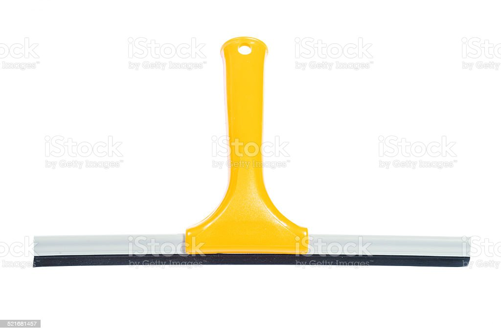yellow window squeegee isolated on white stock photo