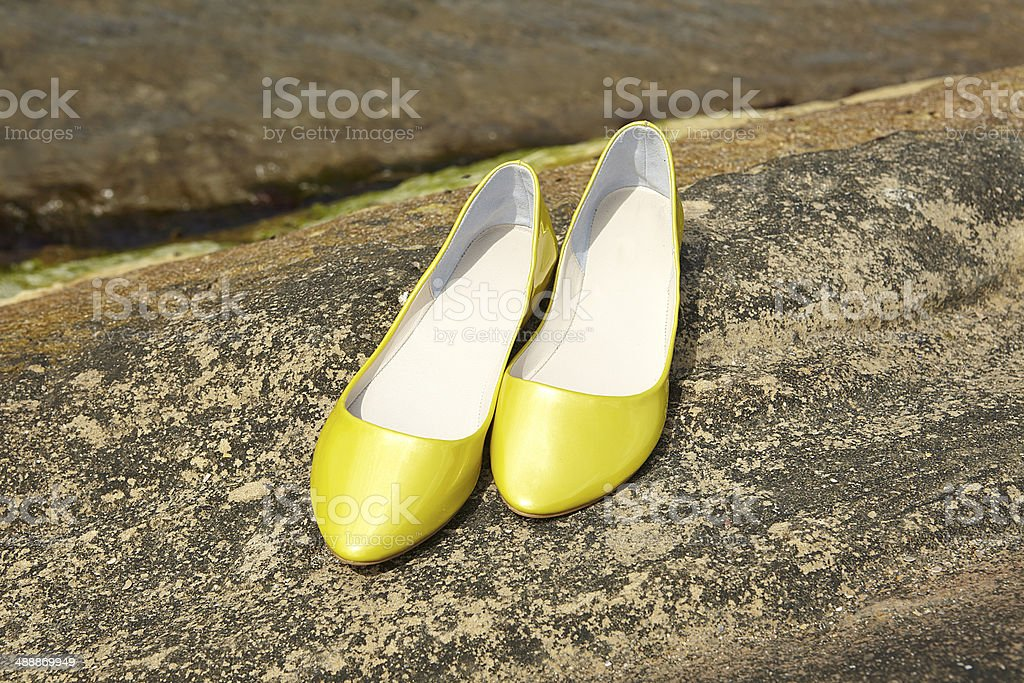 Yellow Women Shoe royalty-free stock photo