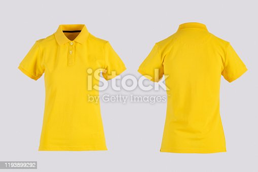 yellow womens blank polo shirt, front and back view isolated on white on invisible mannequin
