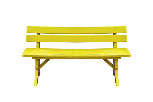 yellow wood bench isolated on white background with clipping path. stock photo