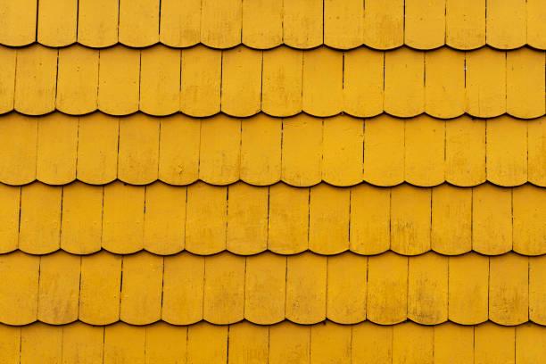 Yellow Wood Panelling, Puerto Varas stock photo