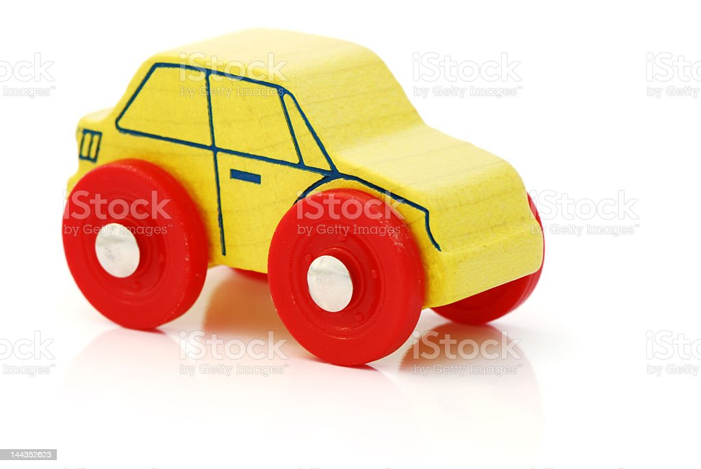 Yellow Wooden Toy Car With Red Wheels Stock Photo More Pictures Of
