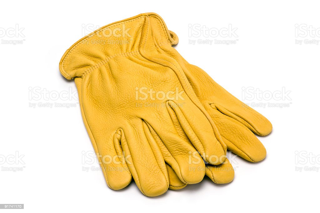 Yellow Work Gloves stock photo