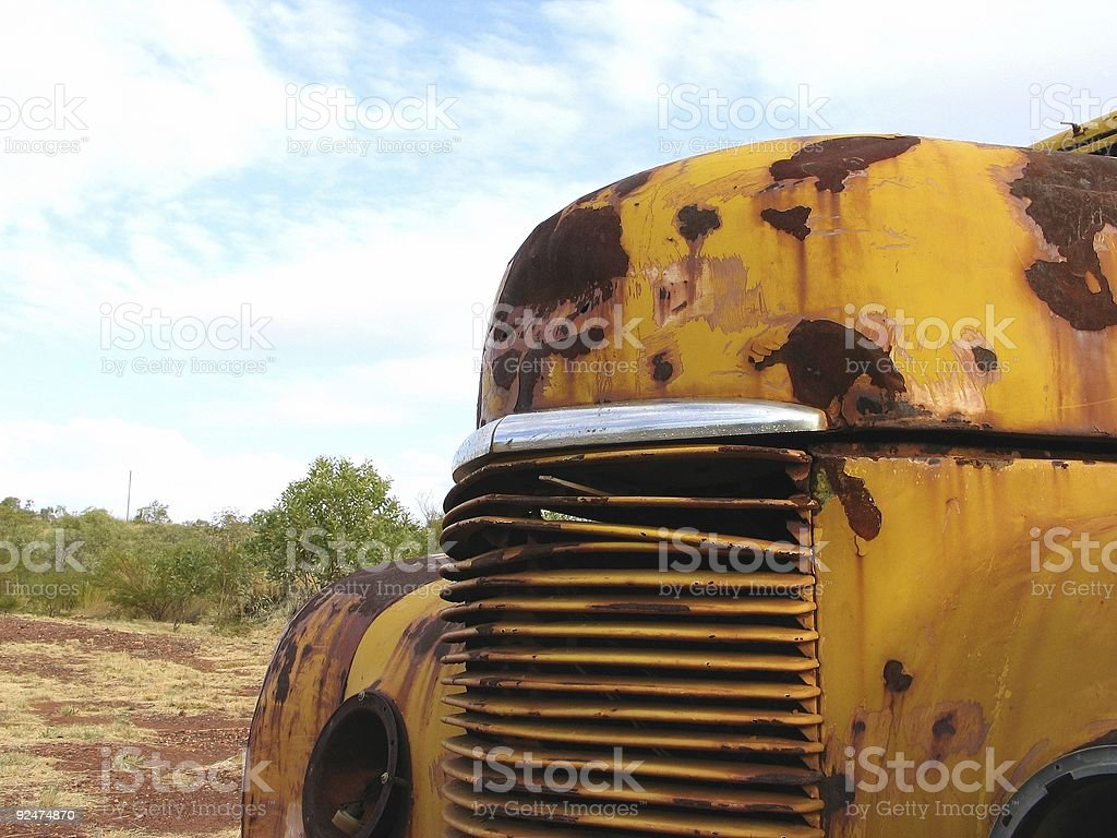 yellow wreck stock photo