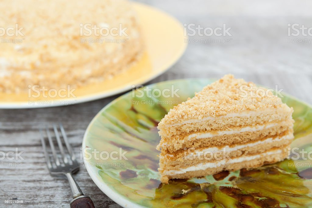 Yellow yoghurt cake with jam royalty-free stock photo