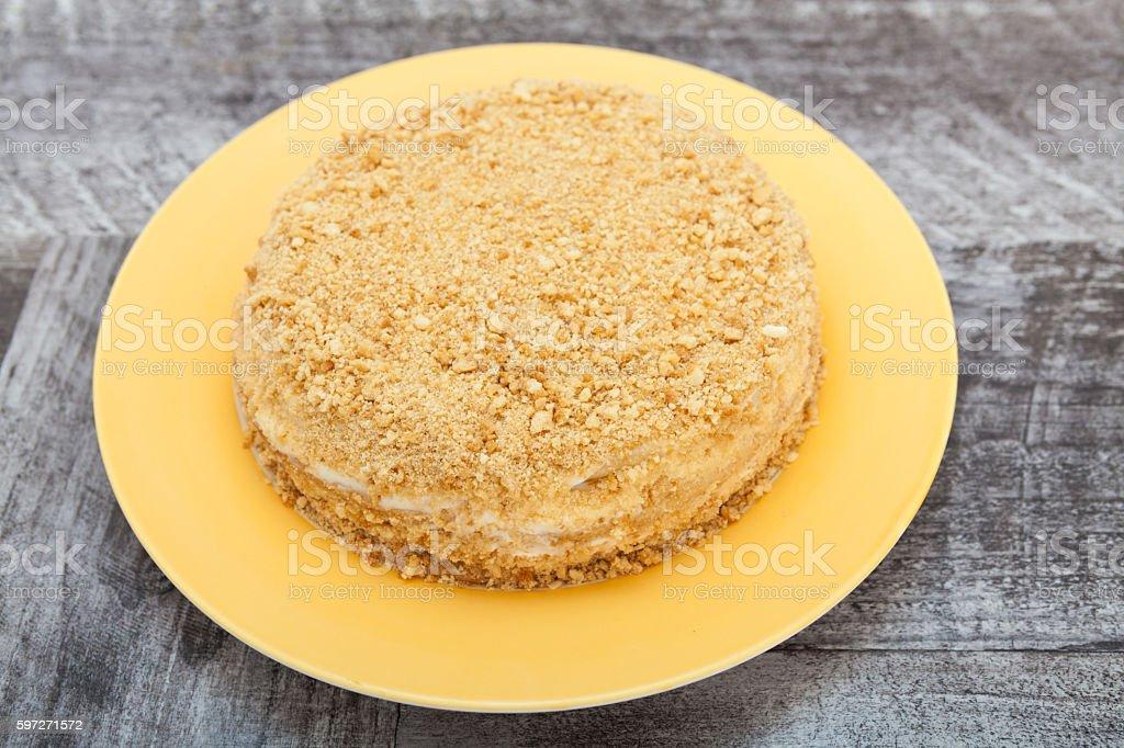 Yellow yoghurt cake with jam royalty-free stock photo