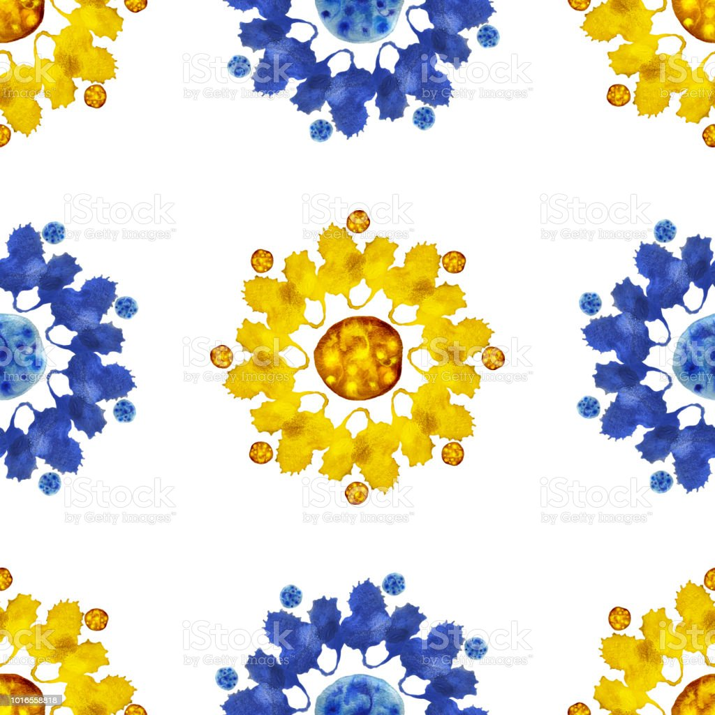 Yellow-blue flower pattern stock photo