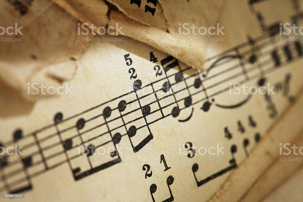 Yellowed sheet of music royalty-free stock photo